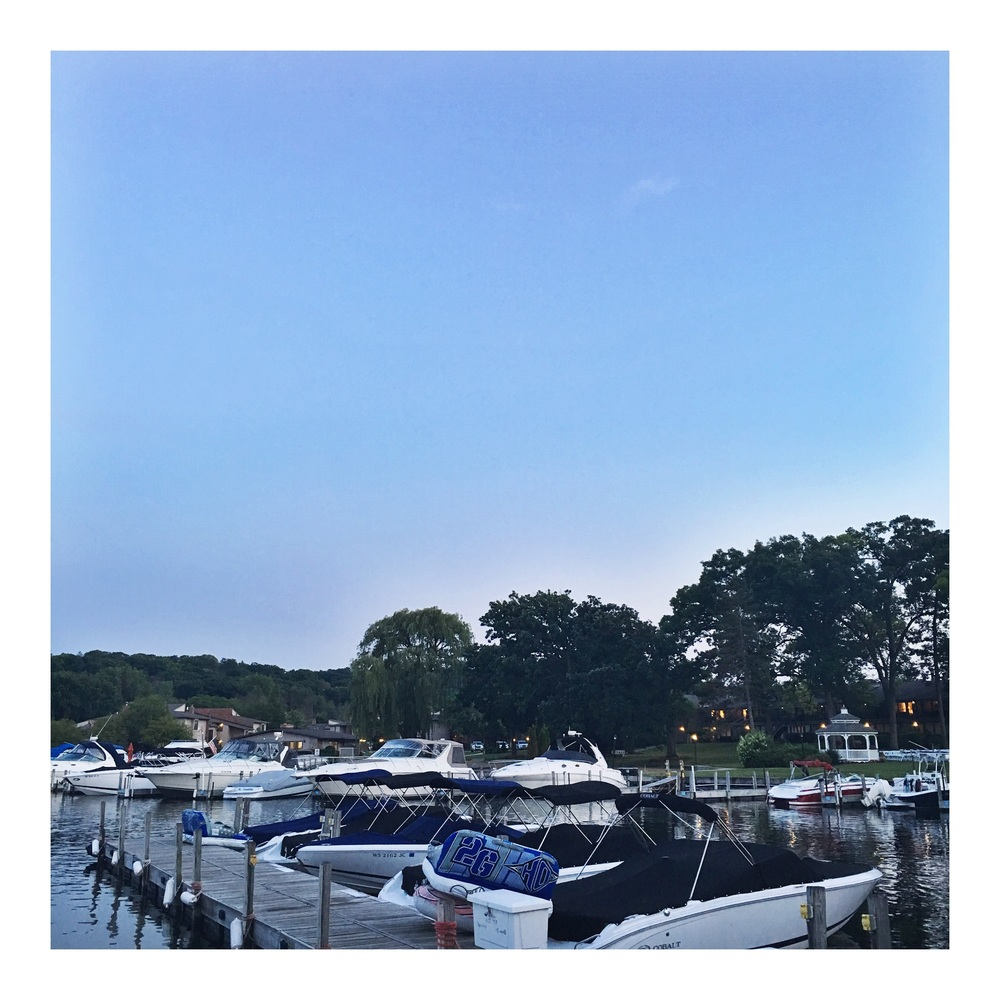 Evening stroll around the dock at The Abbey Resort.
