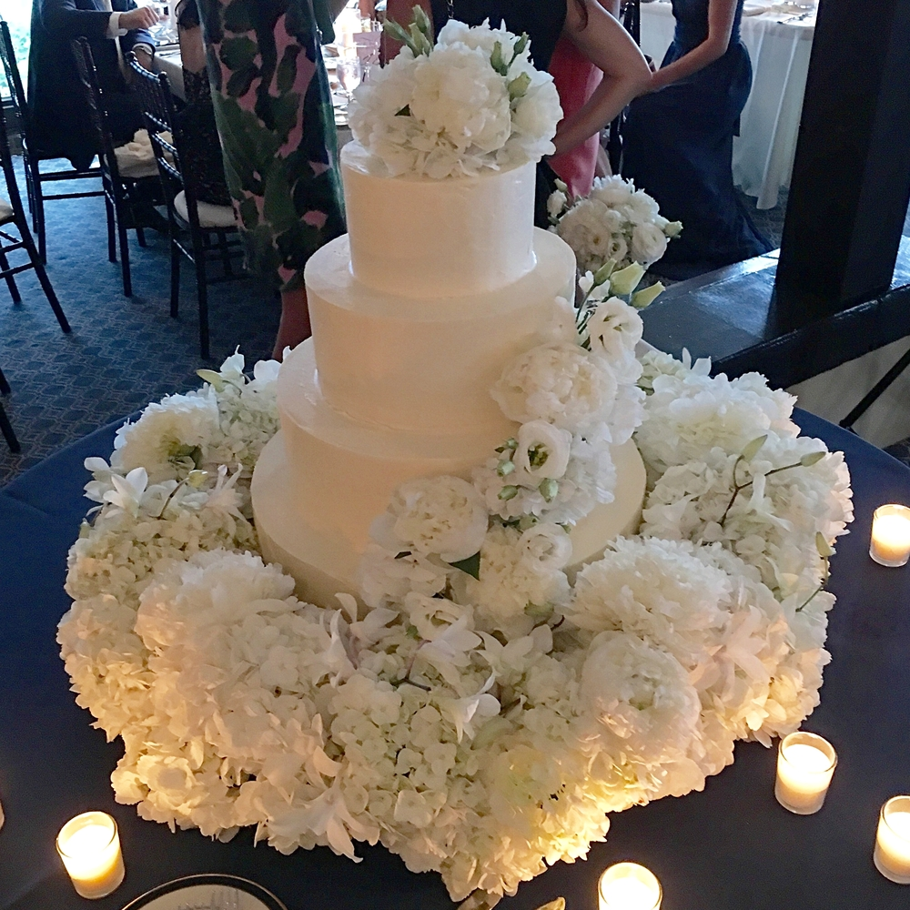 Simple cake surrounded by a bed of perfect petals.