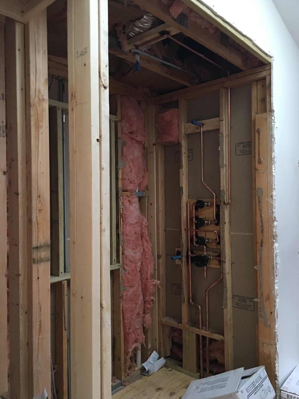 Master bathroom shower progress.