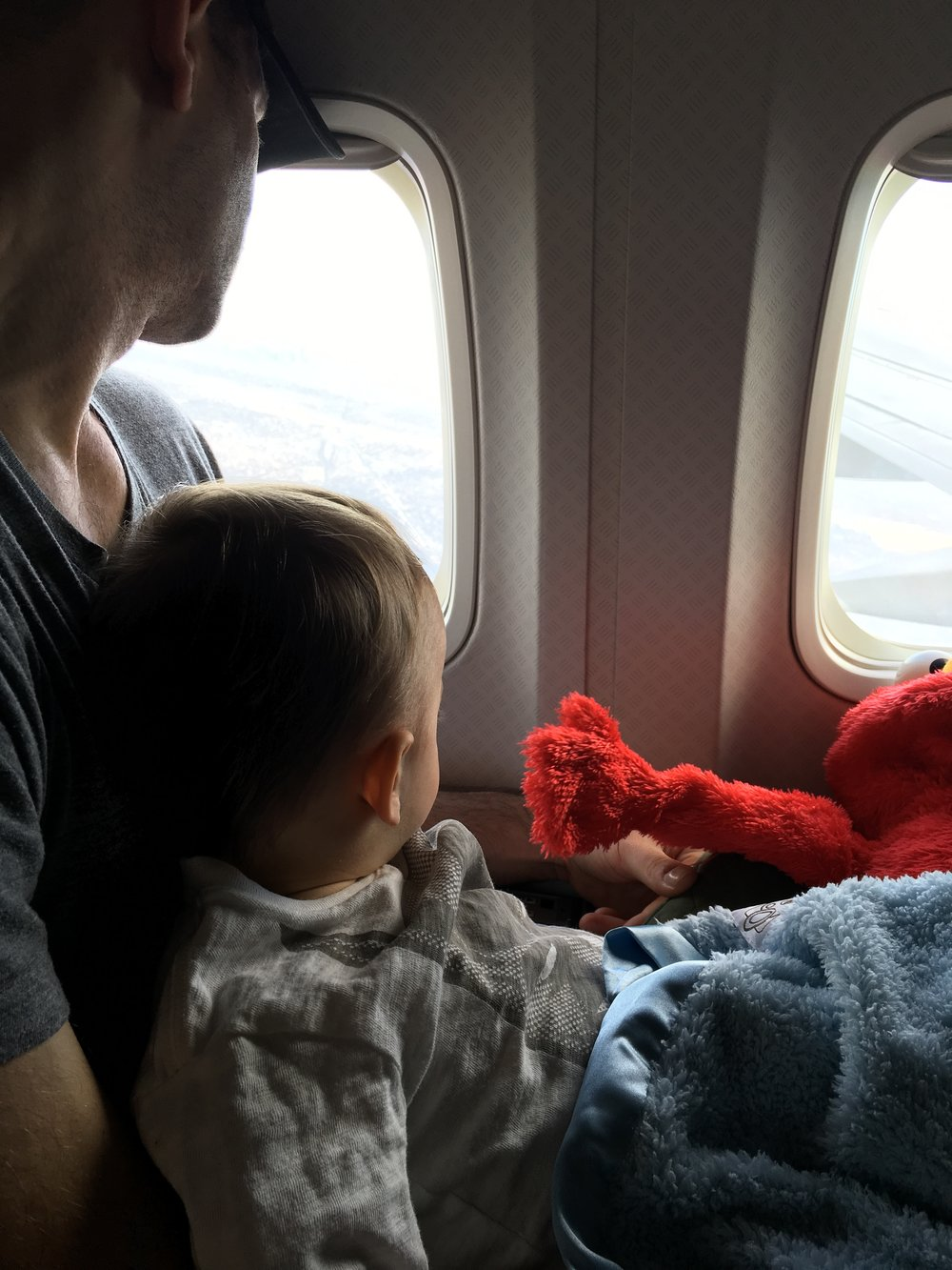 Up in the air with Elmo.