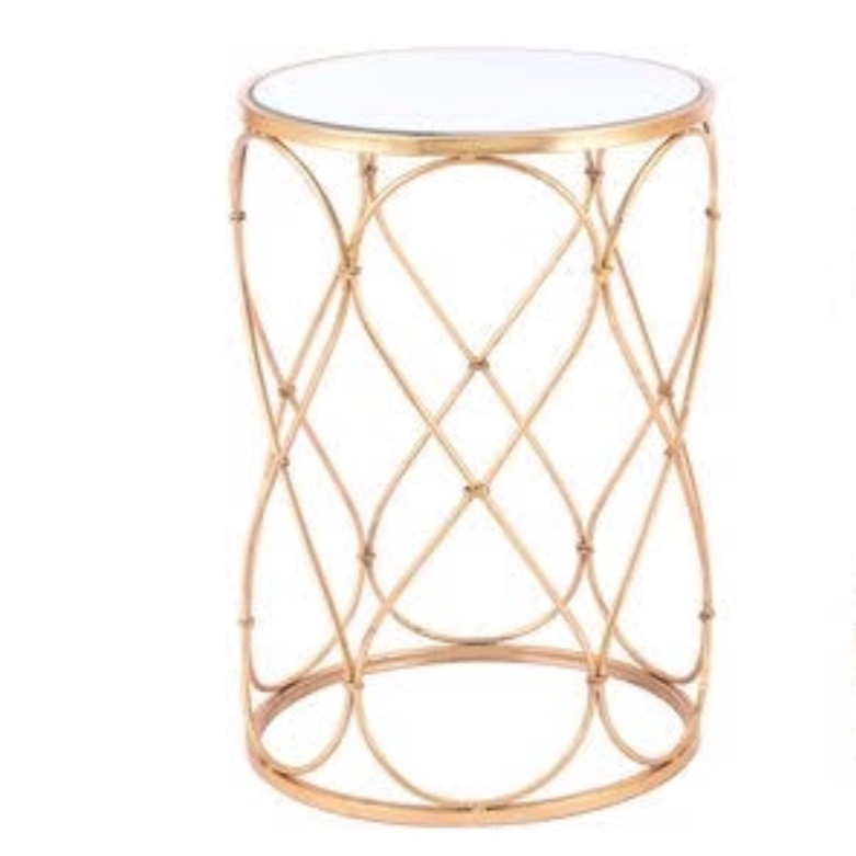 Gold twist mirrored side table.