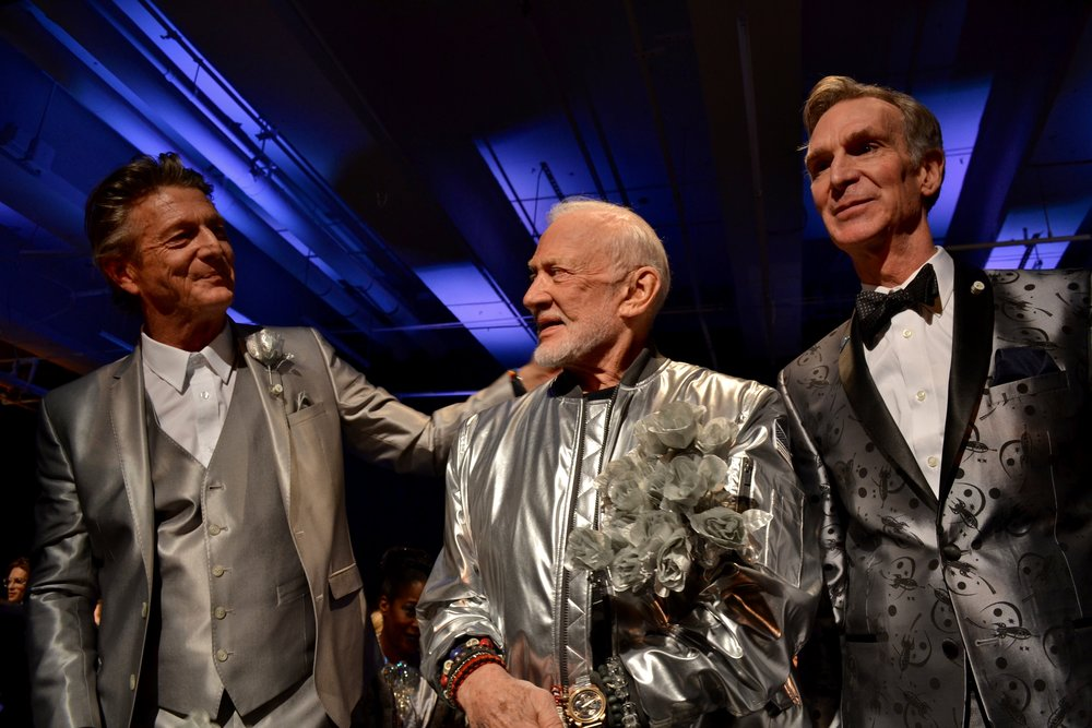 Designer Nick Graham, Buzz Aldrin and Bill Nye.