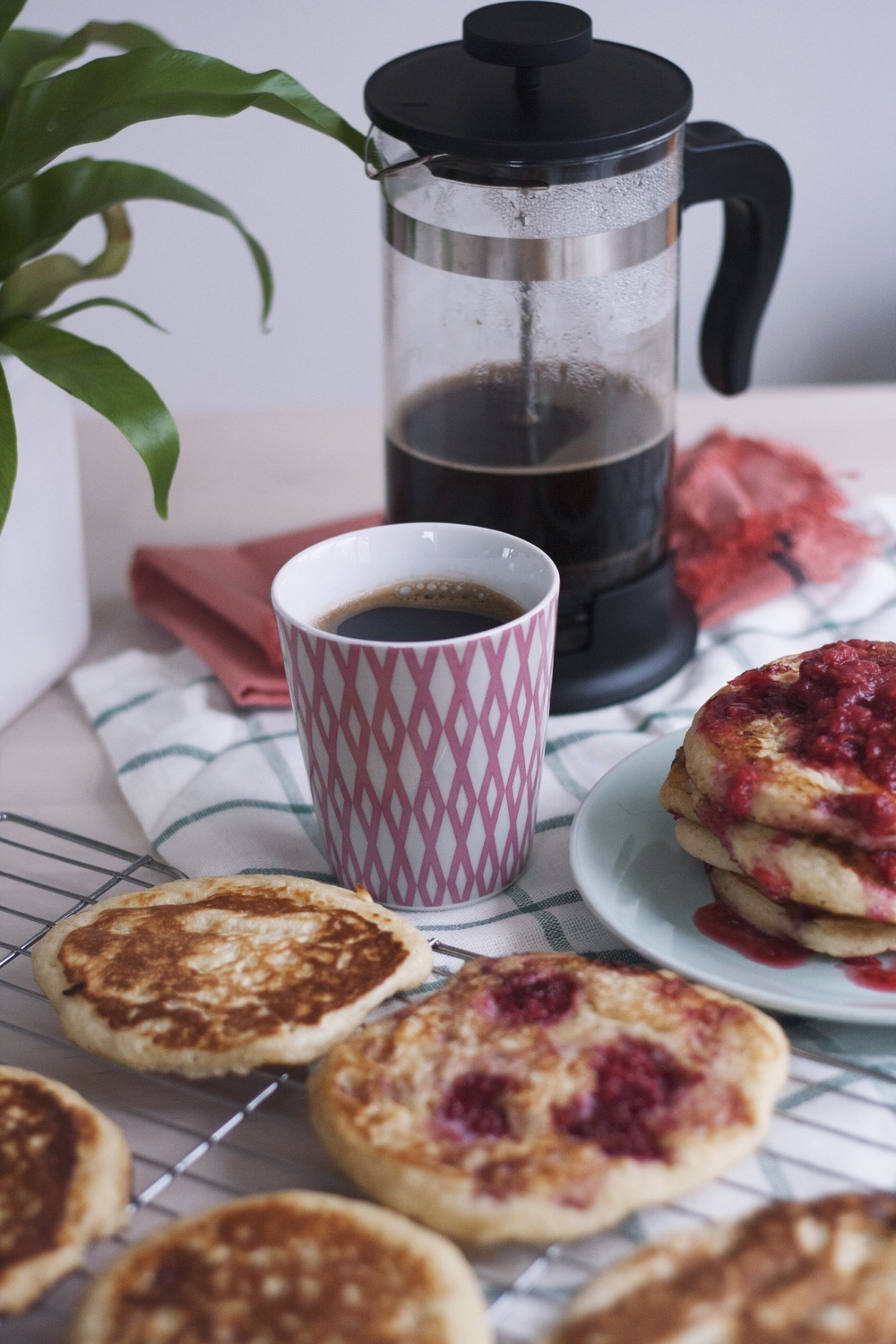 Vanilla Bean and Creme Fraîche Pancakes with Quick Raspberry Sauce // The Cake Hunter
