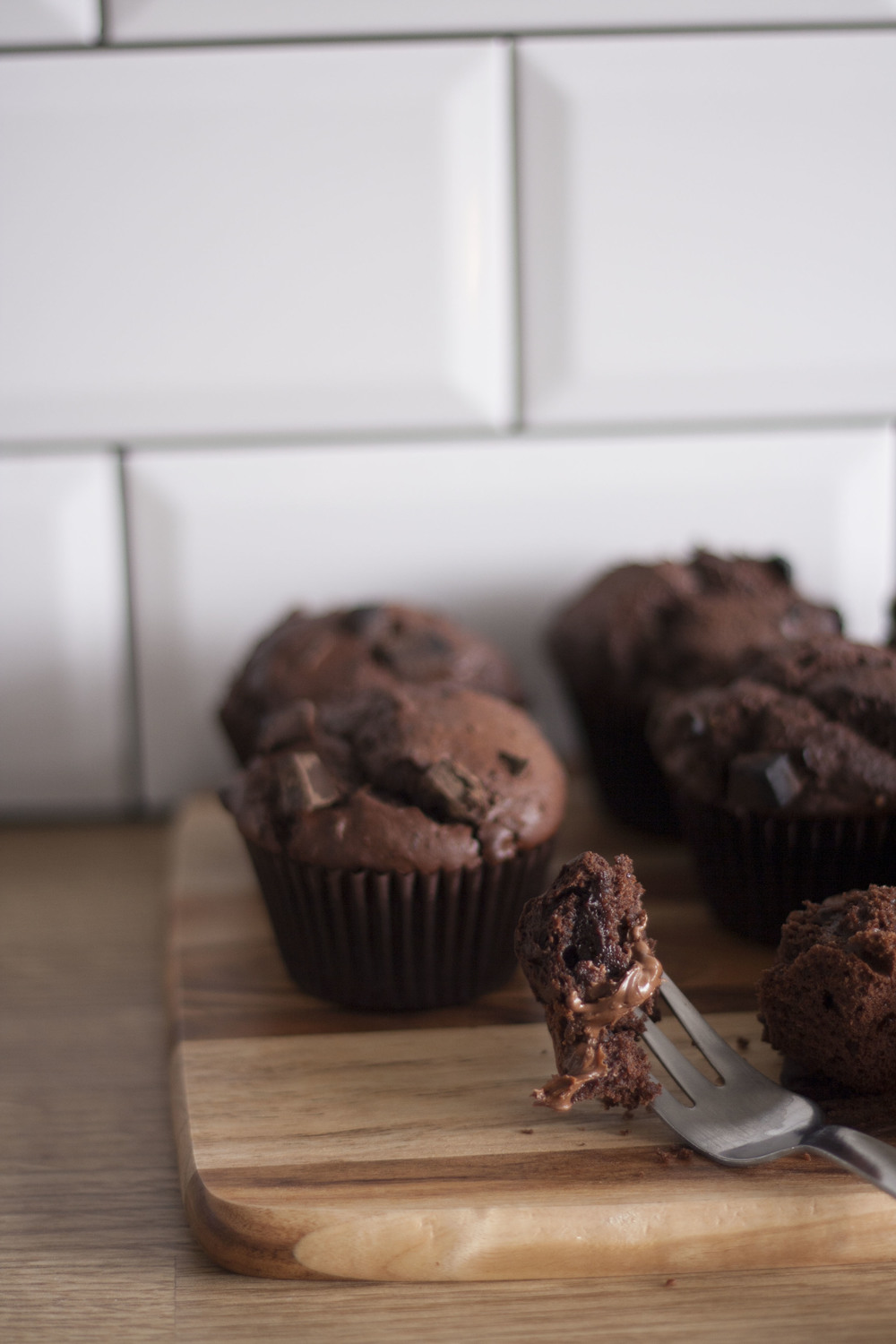 Double Chocolate Nutella Muffins // The Cake Hunter