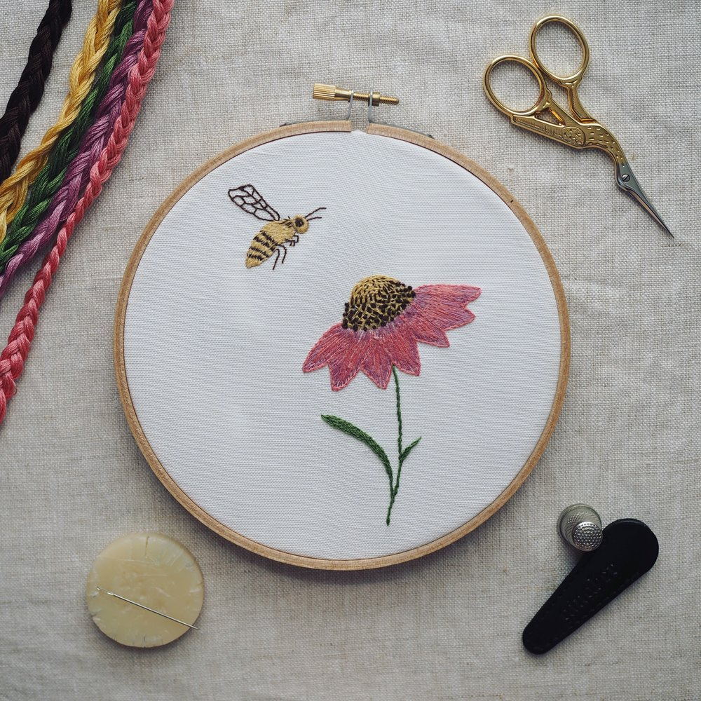 Coneflower Embroidery Kit