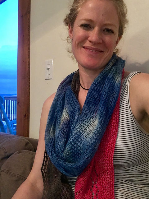 Cresting Waves Shawl - knit and dyed(!) by kquinnschroeder
