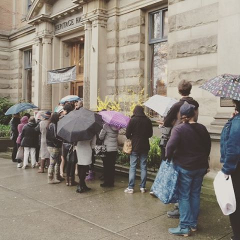 We've had a lineup since 2:30! Join us at 4pm at Heritage Hall. SHOP. DRINK. EAT. REPEAT.  #discovervancouver #vancouverisawesome #canadianart #canadianartist #artisan #heritagehall #mainstreetvancouver #vancity #vaneats #Vancouver #vancitybuzz #vancityeats #vancityhype #vancouverbc #604now #eastvan #eastvancouver #ssinthecity