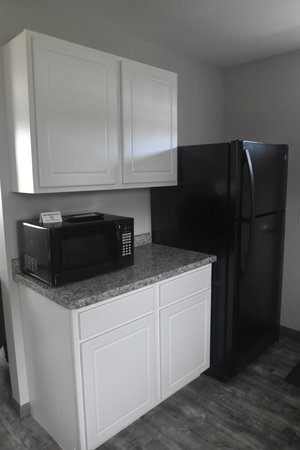 Lucky Horseshoe Cottage #17 - Interior Kitchen Microwave and Fridge.JPG