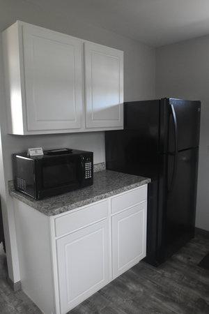 Lucky Horseshoe Cottage #17 - Interior Kitchen Microwave and Fridge.JPG