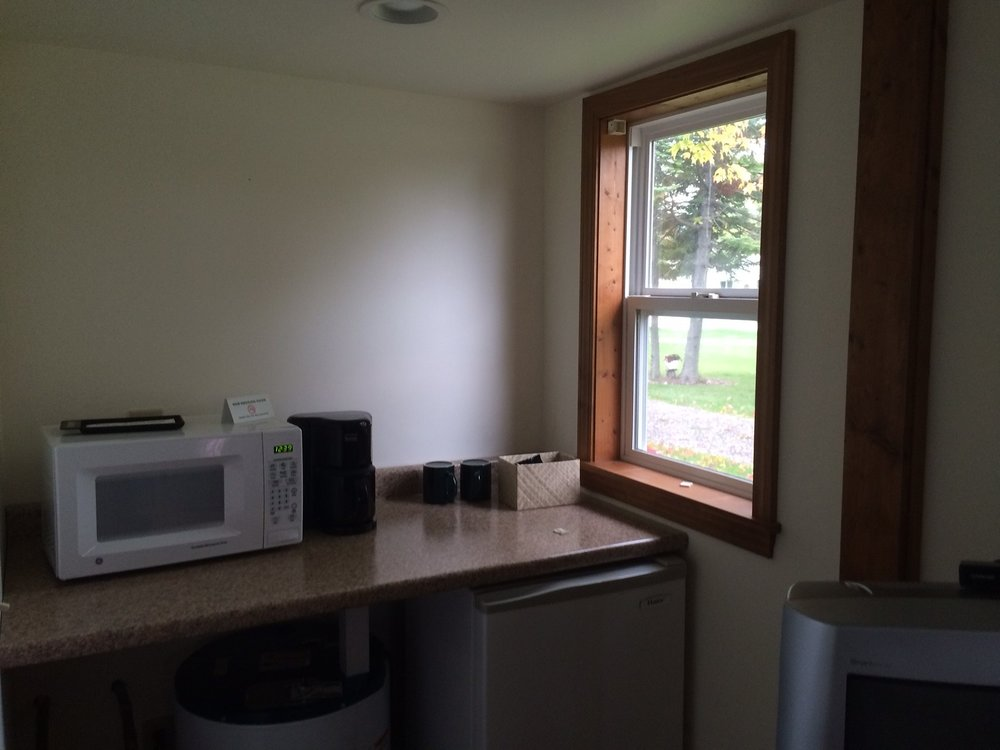 Blue Spruce Motel - Cabin Number 18 (1) - Interior Fridge, Microwave and Window.jpg