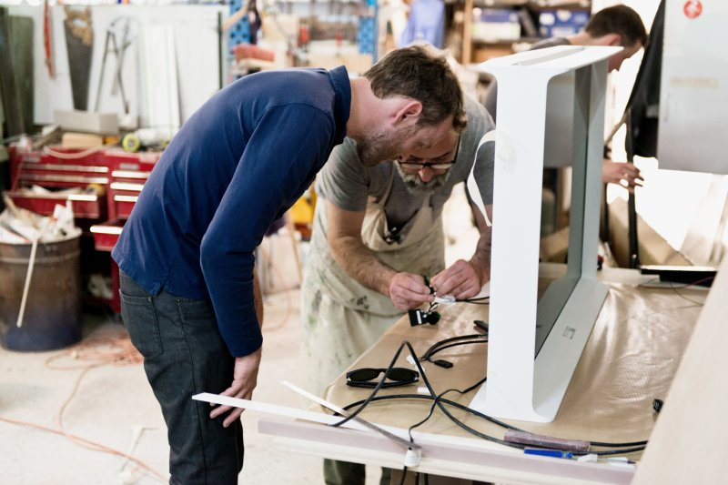 The brothers Bouroullec in the workshop.