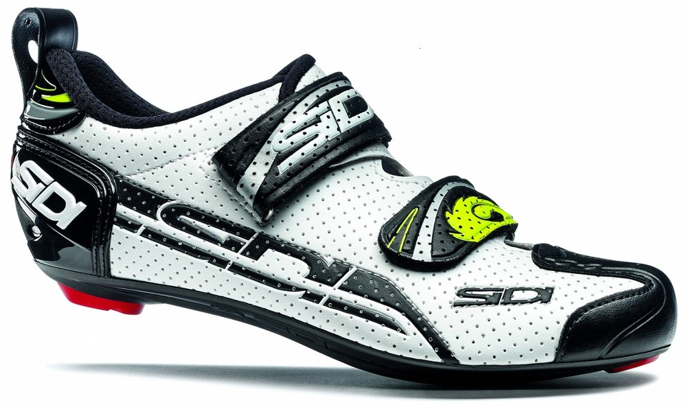 Triathlon shoe - usually with 1-2 velcro straps but also has a hook on the heel to help get your feet in and also to secure your shoe on your bike in an upright position in T1.