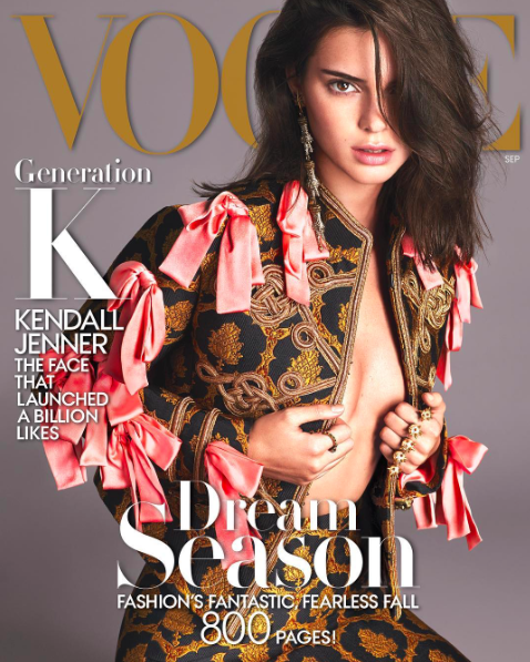 """Instagram: @kendalljenner """"in a room with a bunch of people I love, looking at this cover made me cry. I FUCKING DID IT. SEPTEMBER VOGUE. this is the coolest thing ever! can't thank you enough Anna, for giving me the honor. @voguemagazine's September issue, photographed by @mertalas and @macpiggott and styled by @tonnegood! See the cover story and photos in the link in my bio.❤️"""""""