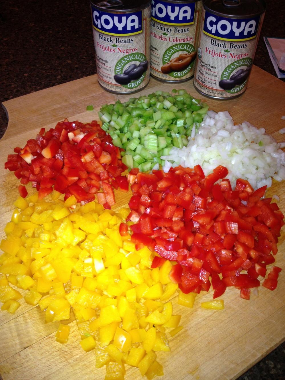 Chopped veggies for 3 Bean Vegan Chili