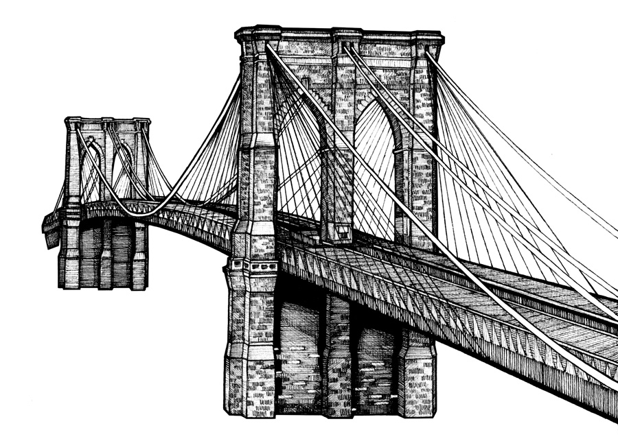 Brooklyn Bridge, Wedding Invitation Illustration