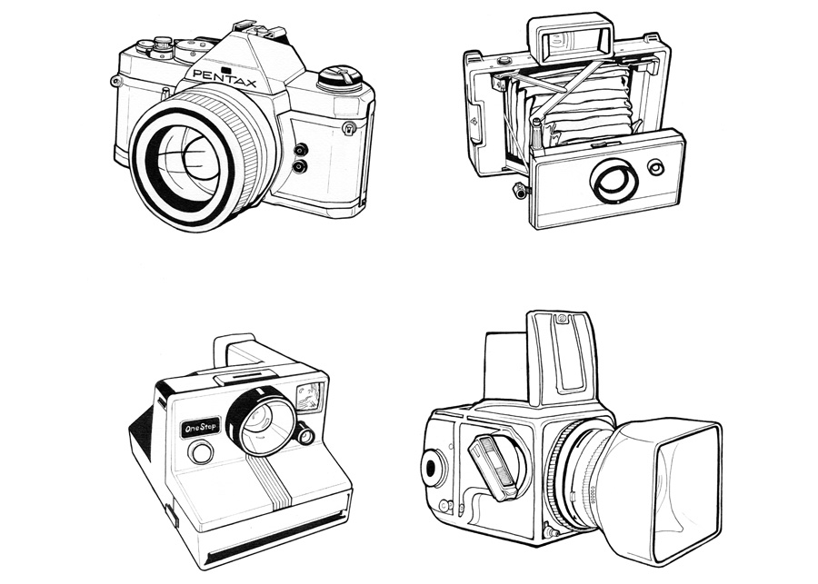 Camera Illustrations for tattoo design