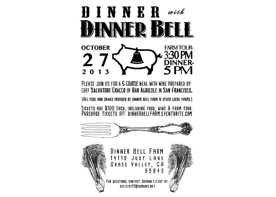Dinner Bell Farm, Dinner invite design & illustrations