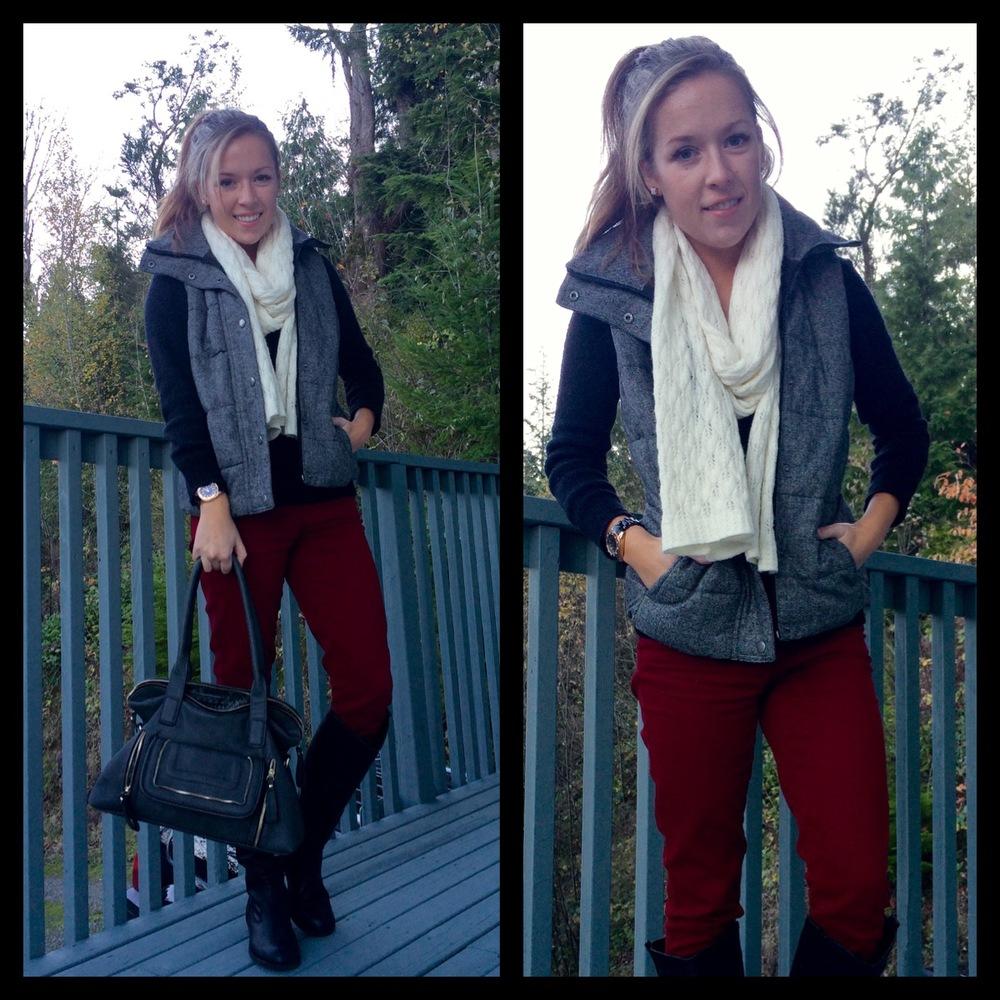 Black Tweed and Burgundy Fall & Winter Look