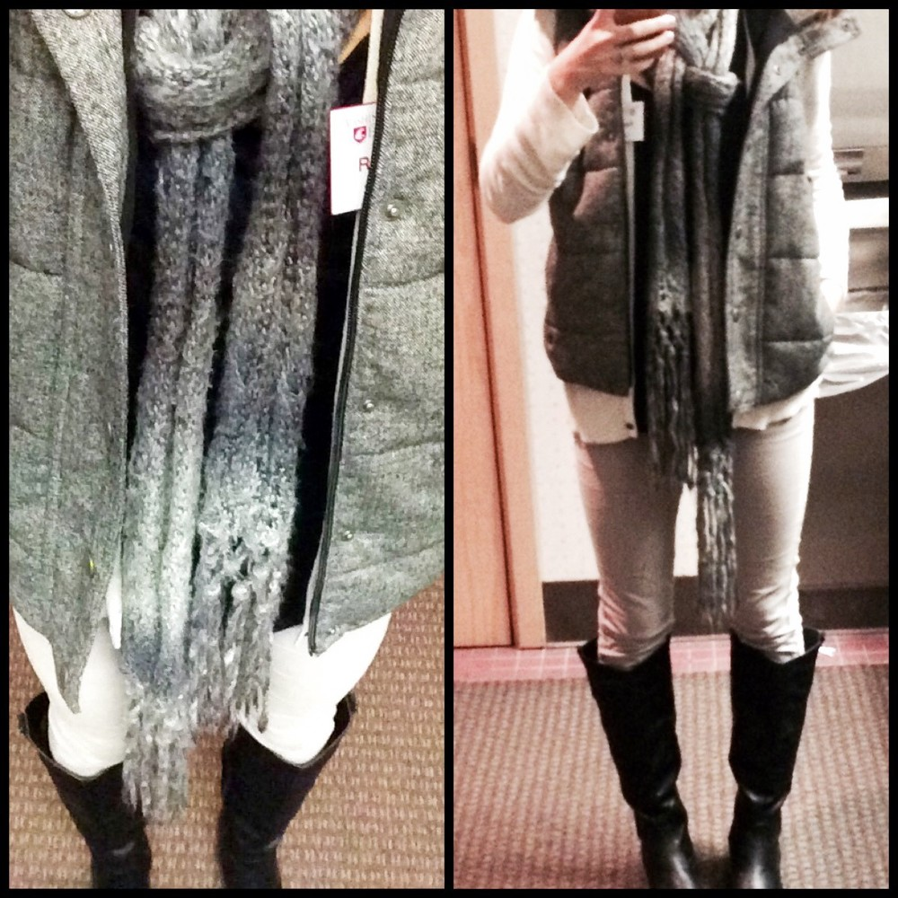 Work casual grey look: Delia's boots, Old Navy vest, Pacsun scarf, Target cardi