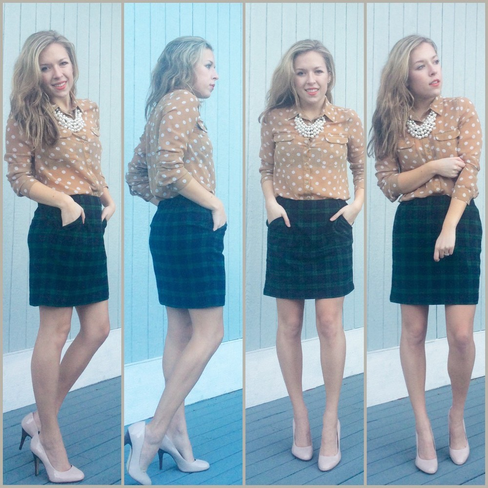 Polka dots and plaid spring look- Old Navy blouse and skirt, Jessica Simpson heels, unknown necklace