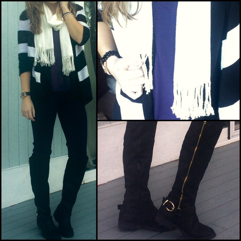 Black, White and Purple work look- WHBM sweater, Old Navy tank, unknown scarf, LC Lauren Conrad jeans, Target boots