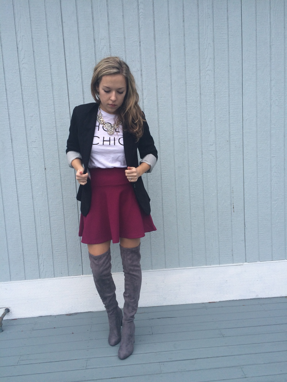 Valentine's Day: Skirt and boots- Forever21, Blazer- JCPenney, T shirt- Old Navy, necklace- EBay