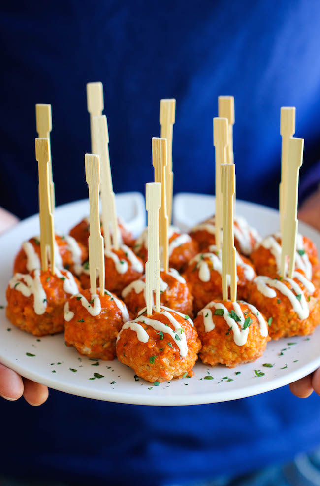 These Buffalo Chicken Meatballs sounds divine because 1) Buffalo Chicken. 2) Blue Cheese dressing. 3) Slow Cooker. Perfection.