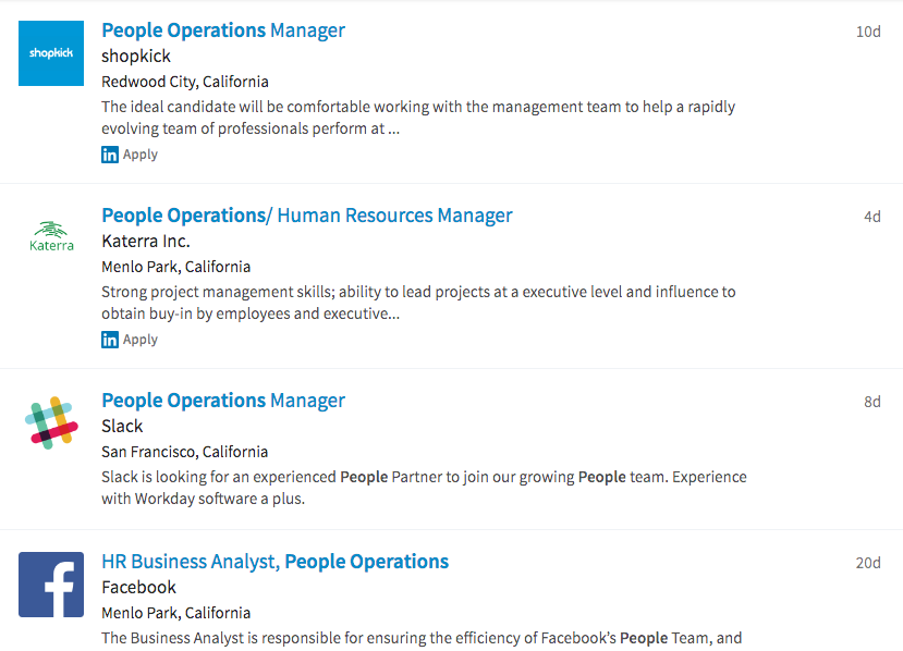 A search for People Operations jobs on LinkedIn reveals 70,000 jobs in the United States