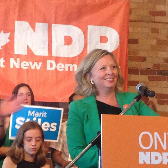 To all those who tediously wonder what is the point of the NDP: well here's one you can't refute: newly nominated provincial #ndpontario candidate #MaritStiles. Really exciting for the riding and the party. Kudos, Marit.
