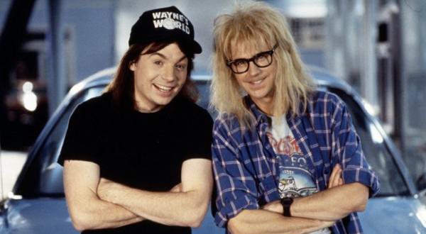 """Wayne's World"" (1992)  It's only a plain black t-shirt but its iconic to Mike Meyers' character Wayne. ""Party time, excellent!"""