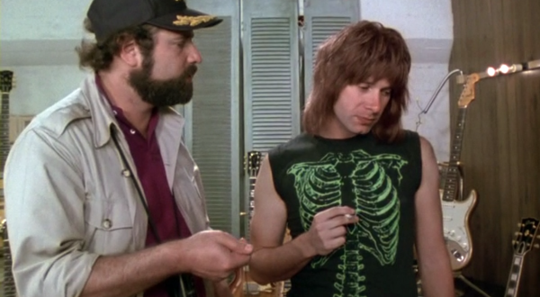 """This is Spinal Tap"" (1984)  The funniest rock movie ever made has one of my personal favorites on the list. The ""Green Skeleton"" t-shirt worn by Nigel Tufnel.  It's Nigel's ""exact inner structure done in a t-shirt. Exactly medically accurate."""