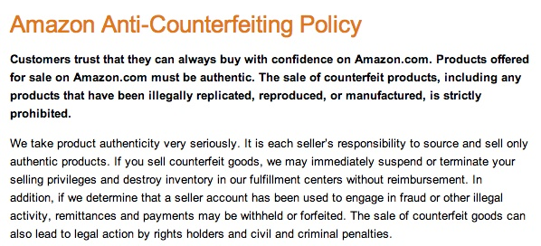 (Amazon's publicly-posted anti-counterfeit policy)