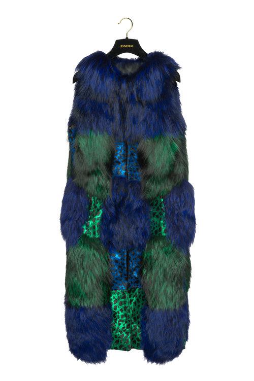 2a759dac70e50 CALF HAIR X FOX FUR VEST (BLUE/GREEN) ...