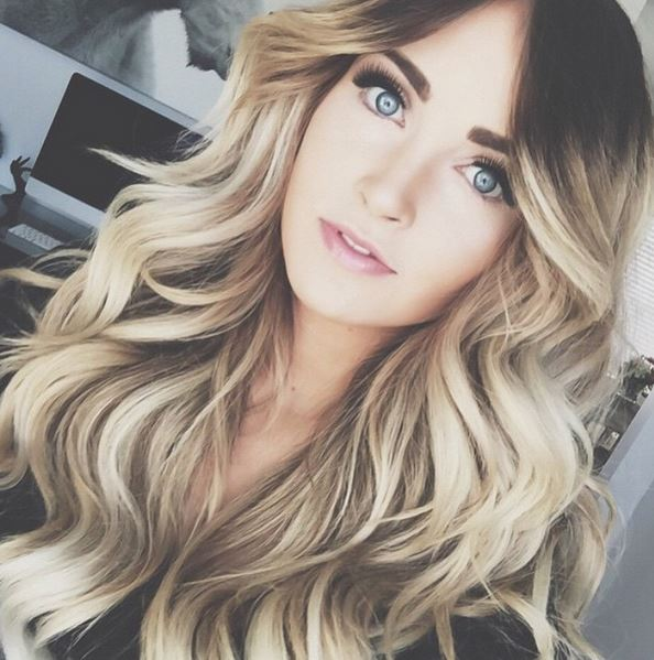 Cara Loren wearing her BELLAMI 8/60 Ash Brown Ash Blonde Balayage ombre by Guy Tang