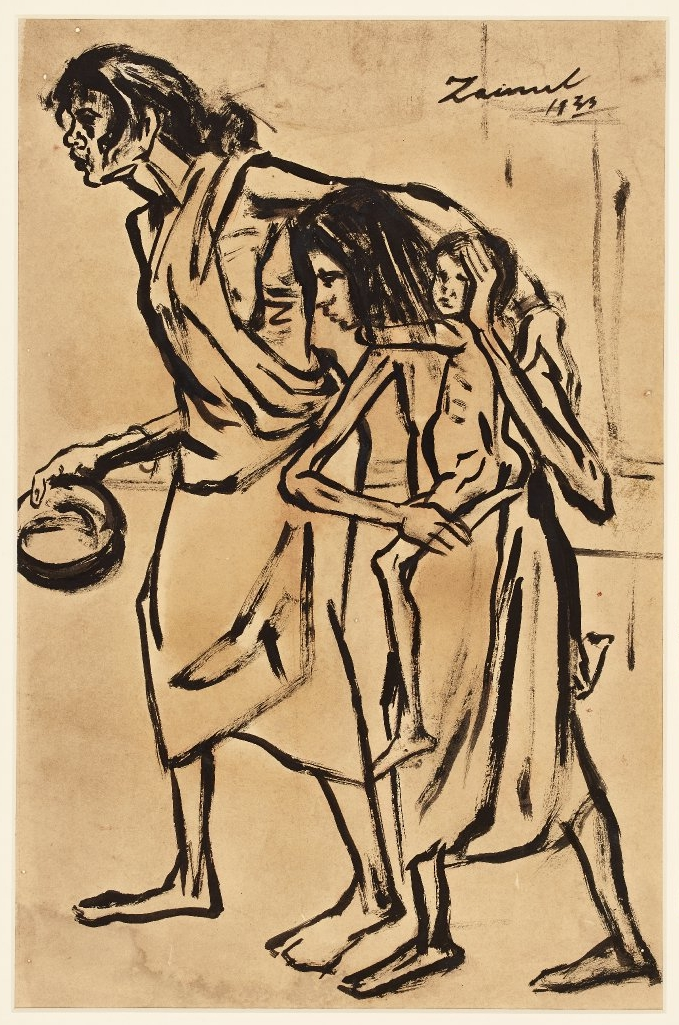 This evocative drawing shows a family struck by the Bengal Famine of 1942. Painted in Chinese ink on paper in broad brush strokes.