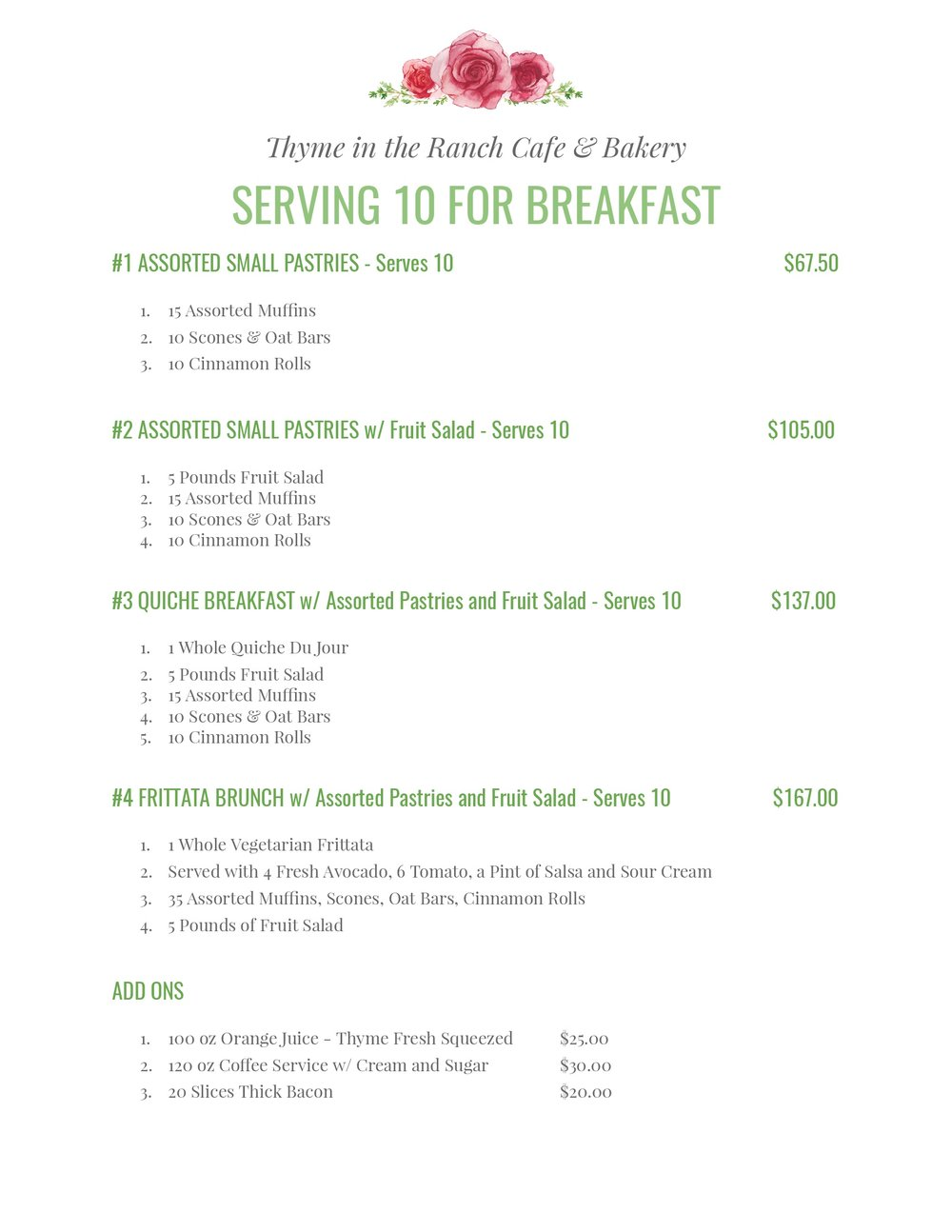 Breakfast Catering Menu for 10 people