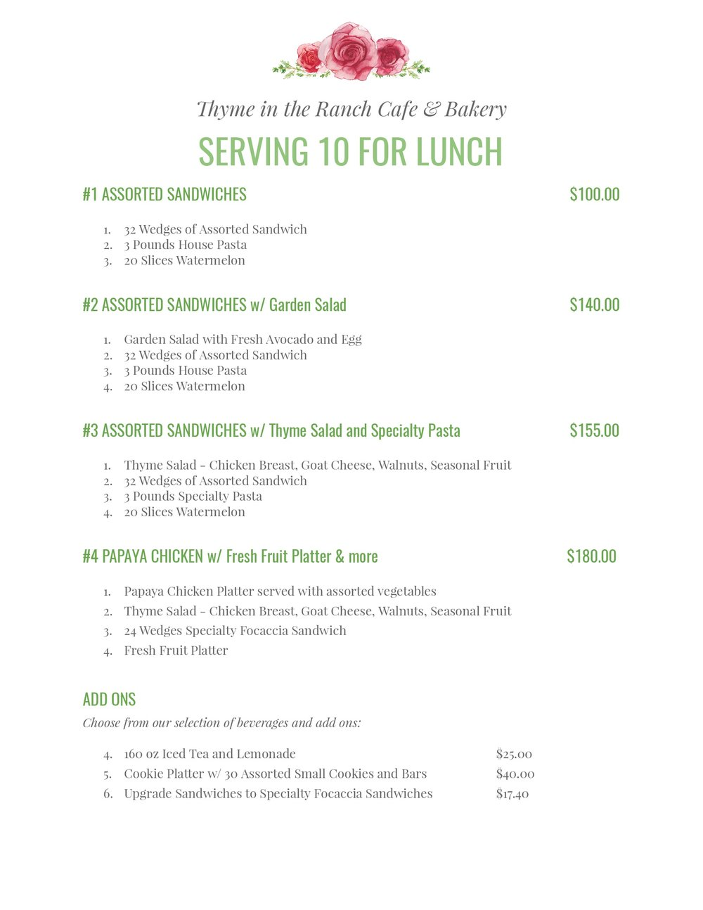Lunch Catering Menu for 10 people