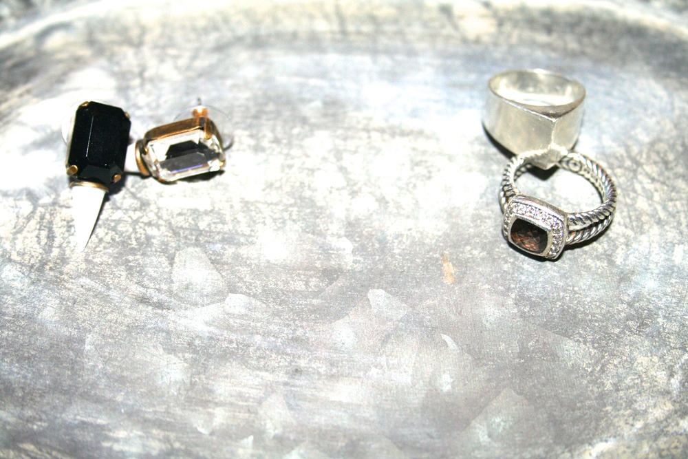 Vintage Tray with Lionette earrings, Hunt Amor Bella ring, and David Yurman Pave Diamonds/Smokey Quarts Ring