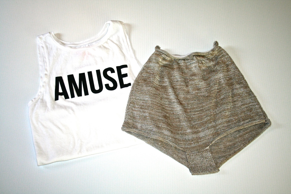 AMUSE Society knit beach bling shorts and iconic muscle tank from Fred Segal
