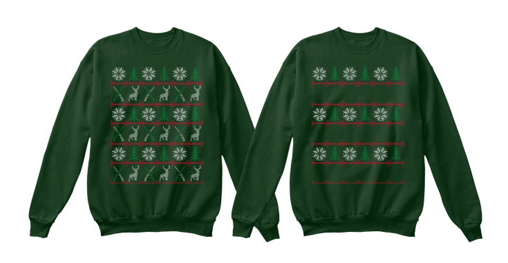 """Example of adapting a """"hunting"""" design for an Ugly Christmas Sweater"""