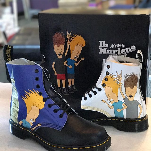 """""""Mmmmm you said High""""  your totally gonna score with these!! Availiable now at High Stepping in Lehi #beavisandbutthead #drmartens #drmartensofficial #cornholio #iamthegreatcornholio #mtv #90s #lehimain #utah #localfirst #pascal #drmartensstyle #instagood #manwich"""