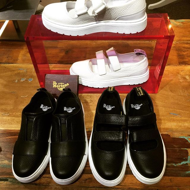 Need something new for spring?  Tag someone who needs these. #drmartensofficial #authorizedretailer #whitesolesblackheart #slipon #pebbledleather #bouncingsoles #sneakerjanes #valentinesdayideas #velcroshoes #mae #lylah #drmartensstyle