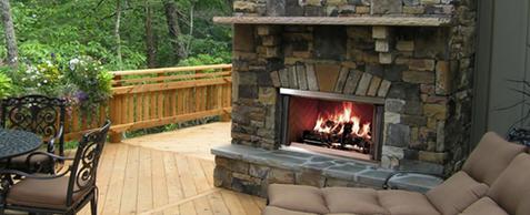 godbyhearthandhome heat-n-glo heat n glo outdoor fireplace scene