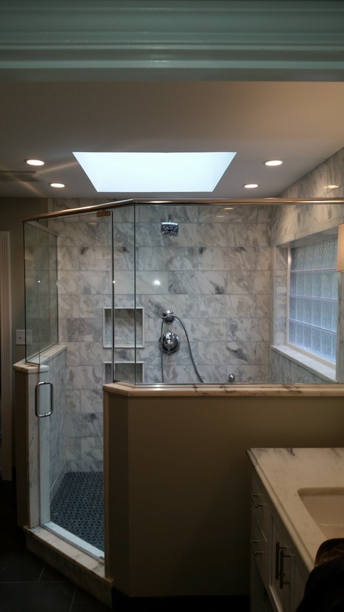 3/8'' Frameless Clear Glass Pivot Door w/ Buttress Neo Angle Panels