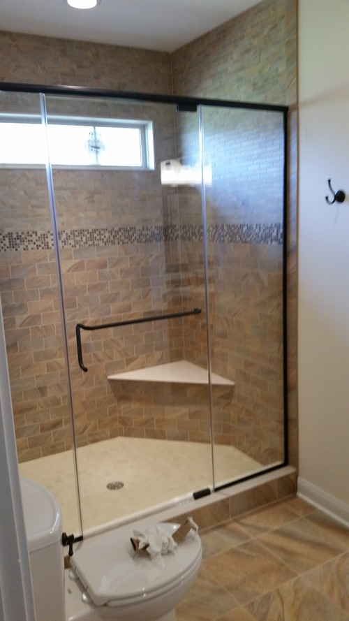 3/8'' Frameless Clear Glass Pivot Door w/ Inline Panels