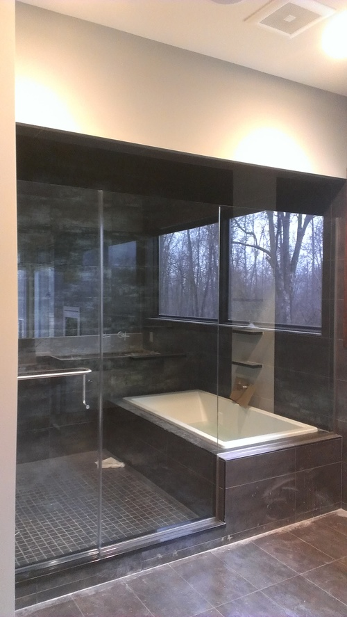 3/8'' Frameless Clear Glass Hinge Door w/ Notched Inline Panel - Wet Room
