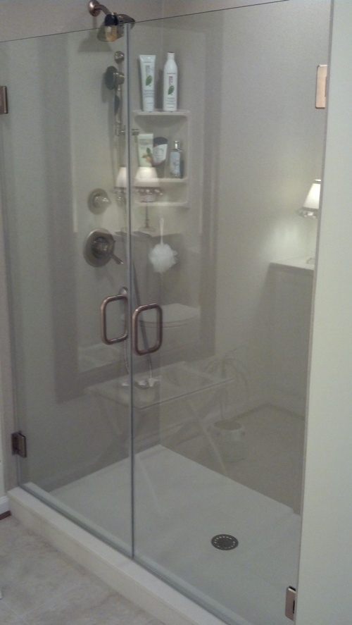 3/8'' Frameless Clear Glass Hinge French Doors