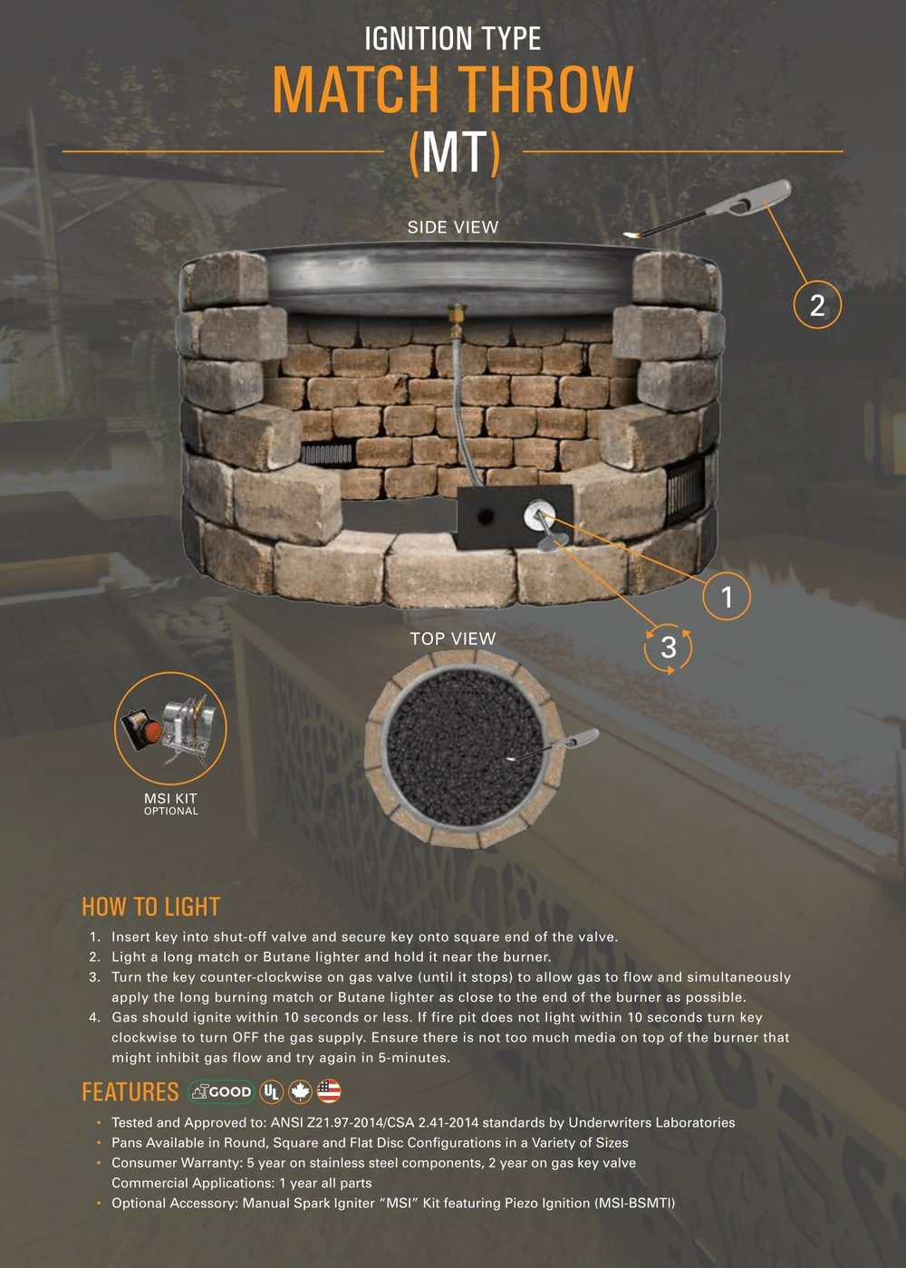 fire gear mt match throw burner pan system details