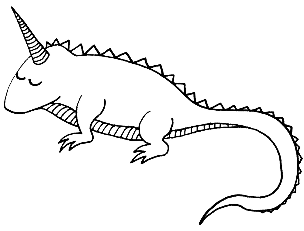 illustrated black and white line drawing or a iguana and unicorn hybrid