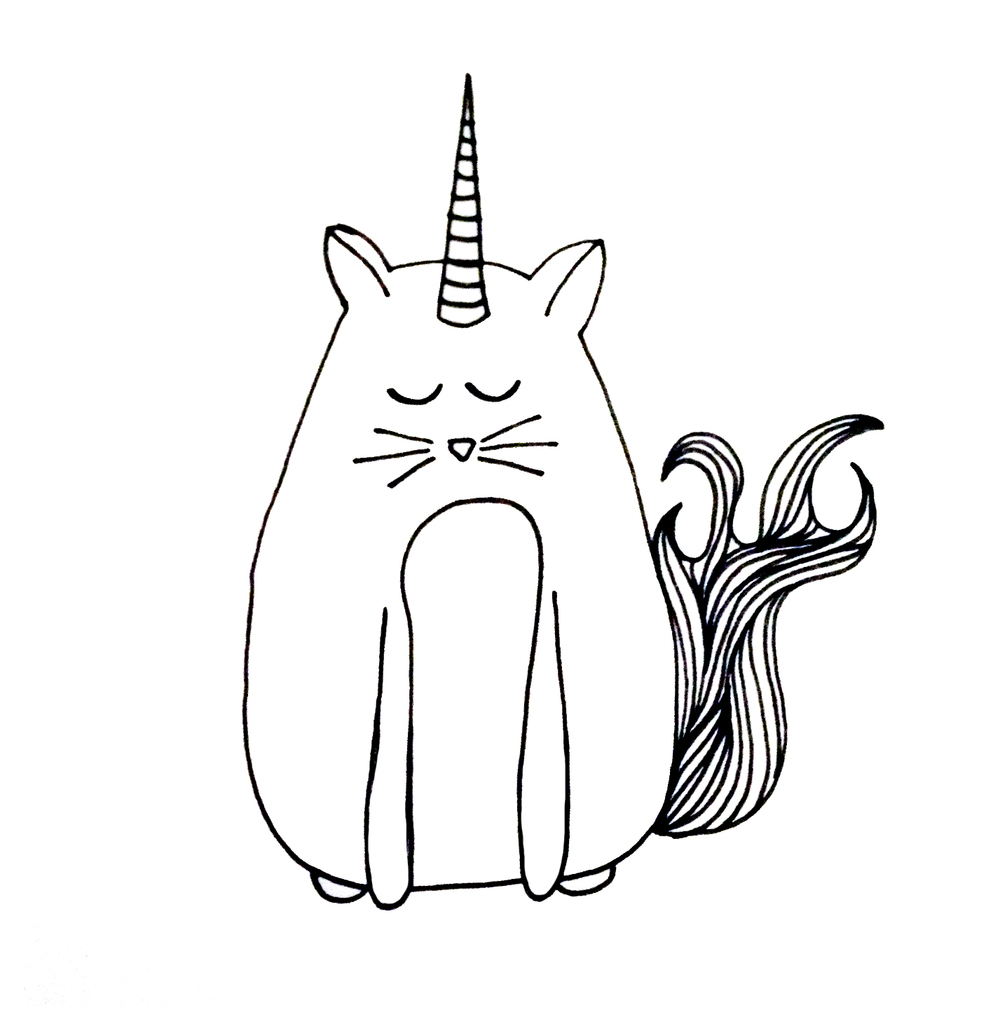 Illustrated line drawing of a cat & unicorn hybrid - 'Caticorn'